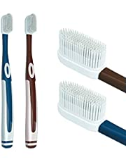 Cepillo de dientes de silicona suave con cerdas nano, con 100 cerdas de silicona suaves, limpieza fácil de secar, 10 veces el efecto de limpieza de cepillos de dientes comunes (2 unidades y 4 cabezales de cepillo).