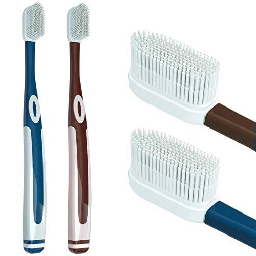 Spazzola dentale in silicone Nano morbido, contiene 100 setole morbide in gel di silice facili da asciugare, invenzione rivoluzionaria nel 2021 (2 pezzi e 4 testine per spazzole) (blu + marrone)