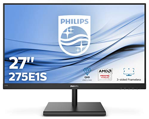 "Philips 275E1S/00 Monitor de 27"" Quad HD (2560 x 1440 Pixeles, 4 ms, FreeSync/AdptiveSync, FlickerFree, HDMI, Displayport)"
