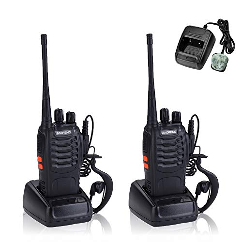 Walkie Talkies Long Range Rechargeable Two Way Radios with Charger Original Earpieces(2 pack)