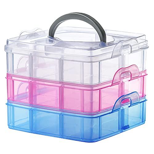 Scatola portaoggetti a 3 piani con scomparti e coperchio, contenitore con maniglia, impilabile, scatola portaoggetti trasparente per piccoli oggetti, accessori per il cucito e gioielli