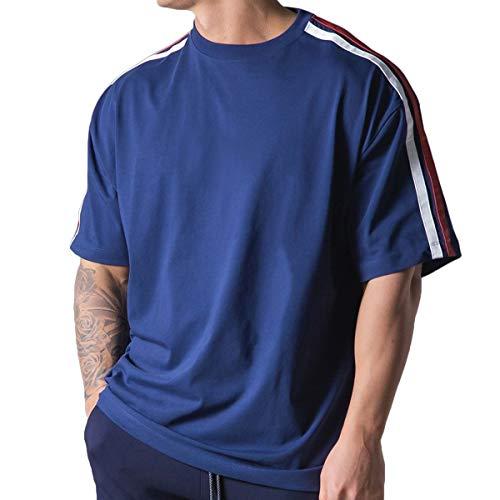 Magiftbox Camisas de entrenamiento para hombre de manga corta de gran tamaño Hipster Gym Camisas para hombres estilo de calle T41 - azul - Medium