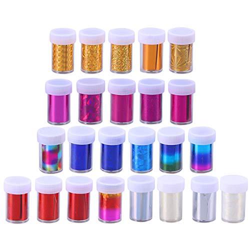 Lurrose 24 UNIDS Gradiente Starry Nail Foil Papel Plástico Pegatinas de Transferencia de Uñas Accesorios de Manicura Nail Art Decoraciones para Mujer Niña Nail DIY