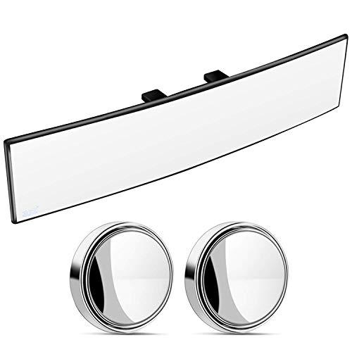 Espejo retrovisor gran angular convexo, clip interior universal en el espejo retrovisor, espejo retrovisor ancho para automóvil, SUV, camión (30 cm x 8 cm)