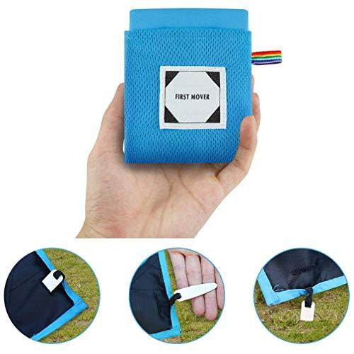 X-Labor Ultraleicht Mini Picknickdecke Stranddecke wasserdichte sandabweisende wärmeisoliert kompakt Nylon Tragbare Camingmatte Pocket Blanket blau 150x180 cm
