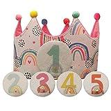 Kembilove Corona Cumpleaños – Corona Primer Cumpleaños niño – Fiesta de cumpleaños Smash Cake de 1-5 Años Intercambiables Arcoíris – Regalos Personalizados