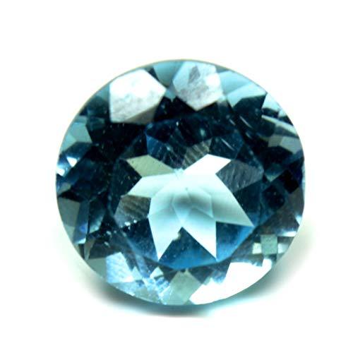 Gemsyogi 10X10MM Piedra de topacio Azul Natural Forma Redonda Facetó la Piedra Preciosa Floja para Hacer la joyería