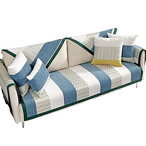 Fundas de Cojines para sofá con Rayas de Chenilla,Protector Antideslizante para Muebles para Mascotas/Perros/niños,Azul,70 * 90 cm