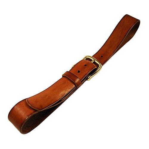 QUOIO by Rough Florence, Cintura di cuoio con fibbia di ottone massiccio, Girovita 115 = Lunghezza totale 130 cm