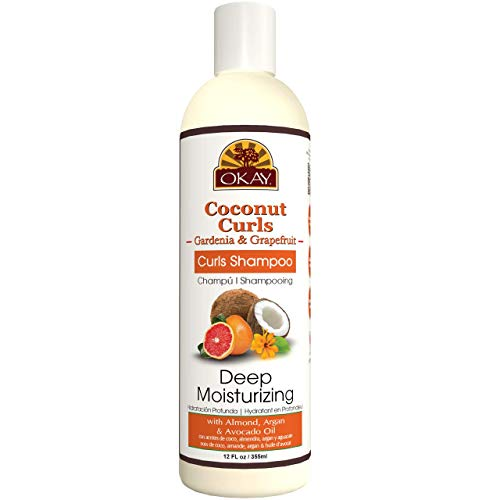 OKAY Coconut Curls Gardenia&Grapefruit Shampoo Helps Moisturize,Hydrate,and Define Curls Sulfate,Silicone,Paraben Free For All Hair Types and Textures Made in USA 12oz