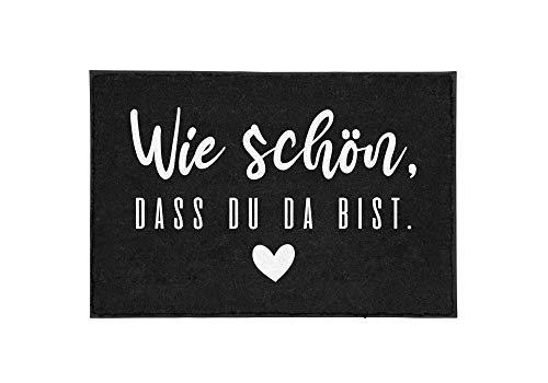 TassenTicker - Fußmatte mit Spruch - Wie schön, DASS du da bist. - schwarz - Herz - Willkommen - innen & außen - waschbar - Geschenkidee - Dekoration