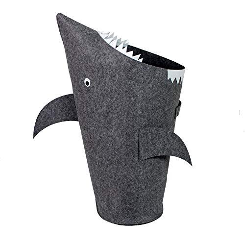 Bins & Things Shark Kids Laundry Hamper   Toy Organizer Basket   Baby Clothes Nursery Basket with Handles - Real Shark Look with Teeth, Fins, Eyes
