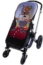 Tris&Ton colchoneta silla de paseo ligera maxi para carrito cochecito bebe transpirable de microfibra modelo Monkey Car + protección de arneses (Trisyton)