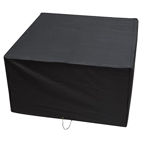 Woodside Heavy Duty Waterproof XL 135 x 135CM Rattan Cube Outdoor Garden Furniture Set Rain Cover, Black, Heavy Duty 600D Material, 5 YEAR GUARANTEE