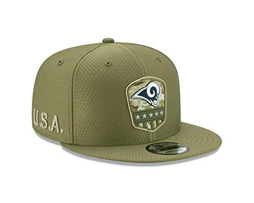 New Era - NFL Los Angeles Rams On Field 2019 Salute to Service 9Fifty Snapback Cap - Olivgrün Farbe Olivgrün, Größe One Size