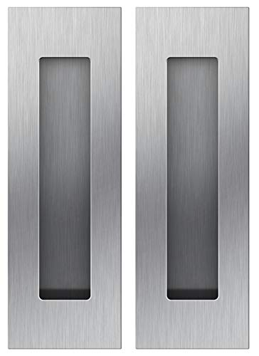 Sehrgut Flush Pull (2 Pack) 6' Rectangular-Satin Brushed, Free of Sharp Edge