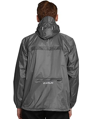 EZRUN black mens waterproof hooded rain jacket best jacket
