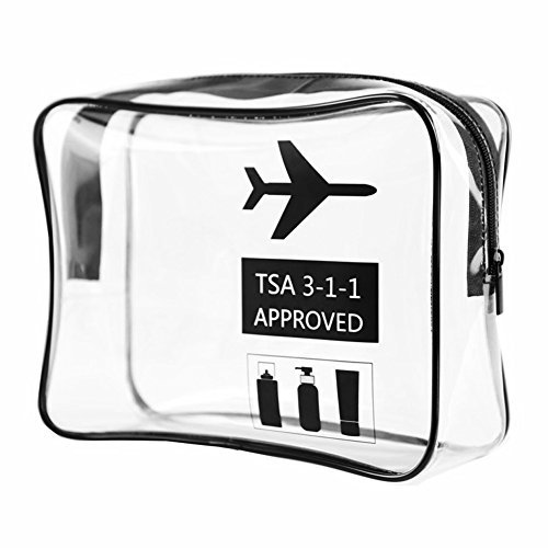 Trousse de toilette transparente approuvée par TSA - Imperméable - Pour les voyages - Pour l'aéroport - Avec fermeture éclair - En PVC