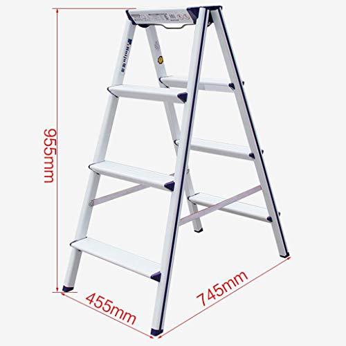 Vouwtrap, 4-traps ladder van aluminium, dubbelzijdige keuken trapschemel, Heavy Duty ladder, A-type huishouden, multifunctionele ladder met anti-slip voetjes A