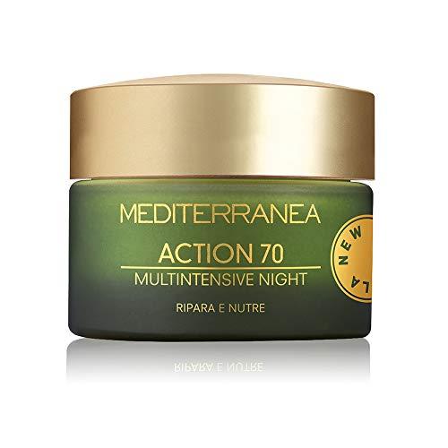 Mediterranea - Crème Visage de Nuit Hydratante Action 70 - Crème Anti-Rides qui Reconstitue et Raffermit la Peau - 50 ml
