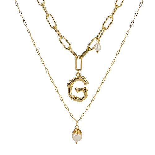 Collar Joyas Collar con Colgante De Perlas Barrocas De Agua Dulce Natural para Mujer Color Dorado 26 AZ Collares con Inicial De Nombre De Letra Grande