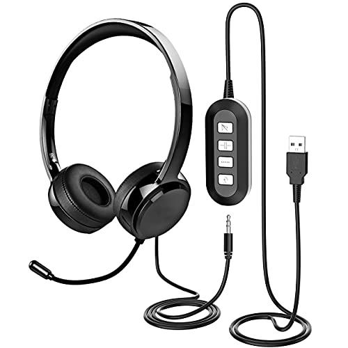 Cuffie con Microfono, Cuffie PC USB/3.5mm con Microfono con Cancellazione del Rumore, Cuffie Leggere per PC Cuffie Cablate, Cuffie Aziendali per Skype, Webinar, Cellulare, Call Center