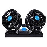 Ventilatore 12 Volt Doppia Testa Ventola di Raffreddamento avec Accendisigari Auto, Due velocit¨¤ regolabile e rotazione manuale a 360 gradi.