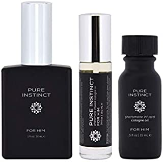 Holiday Gift Pack for Him - Pure Instinct Pheromone Perfume Cologne Oil Set - Set of 3