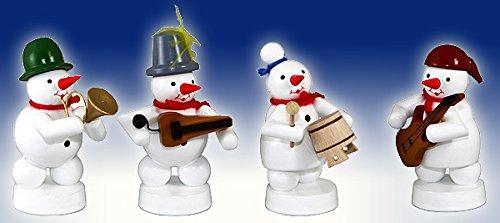 Muñeco de nieve Capilla 4Figuras de guitarra eléctrica, olla, Zanfona, cuerno, altura aprox. 8cm NUEVO Navidad figura mesa Figura Madera los Montes Metálicos.