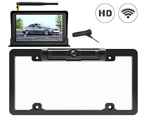 """Calmoor Wireless Backup Camera Kit with 5"""" HD Screen License Plate Camera with Frame, Night Vision IP69K Waterproof 170°Wide Viewing Angle, Simple Installation, Universal for Car Camper Pickup"""