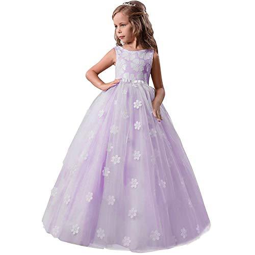 TTYAOVO Chicas Princesa Flor Vestir Hinchado Danza Pelota Tul Vestidos 13-14 años(Talla170) 363 Azul Púrpura