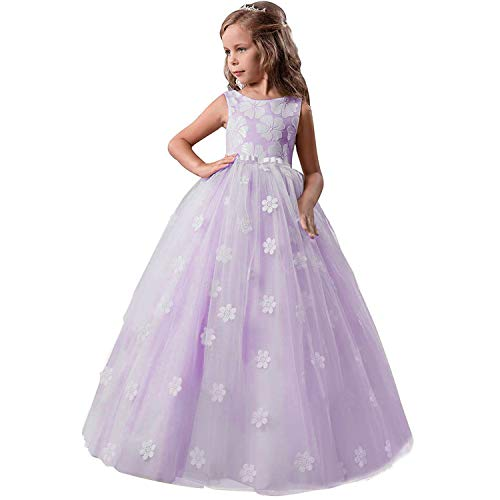 TTYAOVO Mädchen Festzug Ballkleider Kinder Bestickt Brautkleid (Größe130) 6-7 Jahre 363 Lila