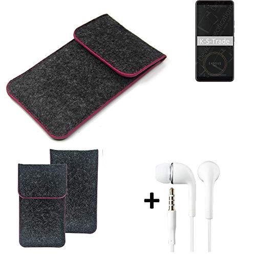 K-S-Trade Filz Schutz Hülle Für HTC Exodus 1 Schutzhülle Filztasche Pouch Tasche Handyhülle Filzhülle Dunkelgrau Rosa Rand + Kopfhörer