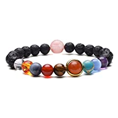 Beautiful Natural Stone Bring Energy And Balance To Your Life.Good Elastic Thread, Will Not Break Easily. This is the coolest bracelet for someone who likes astronomy! Here we have the nine planets laid out in beads: Mercury, Venus, Earth, Mars, Jupi...