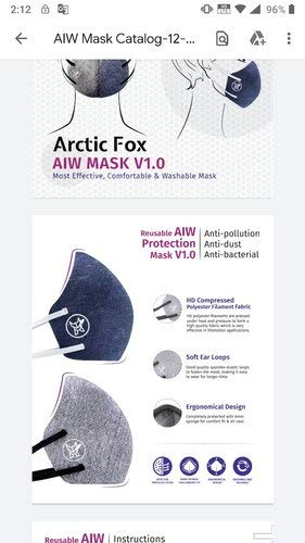 ARCTIC FOX Most Effective, Comfortable and Washable Aiw Mask V 1.0 for Teen (Grey, Blue) - Pack of 2 Pieces