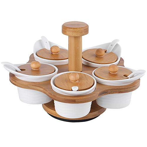 Affogato Ceramic Spice Jars 3pcs Spice Storage Containers with Lids and Spoon 300ml Spice Box with WoodenSpiceRack Kkitchen Tools Small Ceramic Condiment Jar Wooden Lid