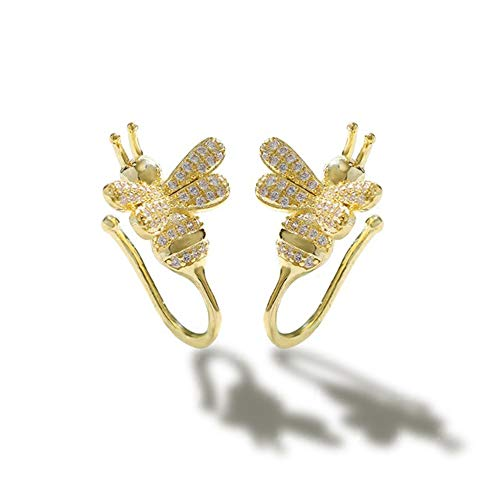 Cute Bee Ear Cuff Earrings 14K Gold Plated CZ Crystal Cartilage Wrap Non Piercing Clip Earring for Women Teen Girls Hypoallergenic