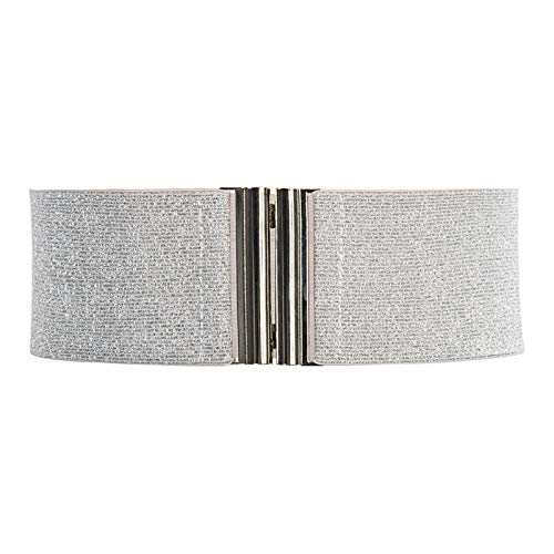 Retro Wide Hook Elastic Waist Belt Plus Stretchy Cinch Waistband Silver S