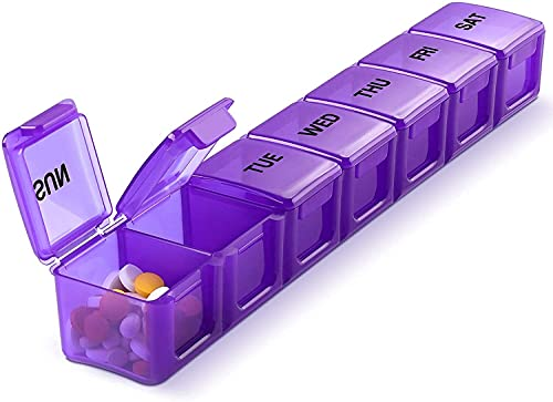 Healthcave Tablet Organiser for 1 week | Travel 7 Day Pill, Medicine, Vitamin Organizer Box | Weekly, Daily Planner | Small Locking Compartments Pill Box