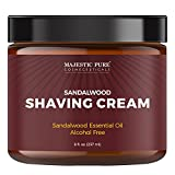 Majestic Pure Sandalwood Shaving Cream for Men and Women - Smooth Close Refreshing Shave Cream Gel, Fights Irritation and Razor Burn, Normal or Sensitive Skin, Great Gift Item, 8 oz