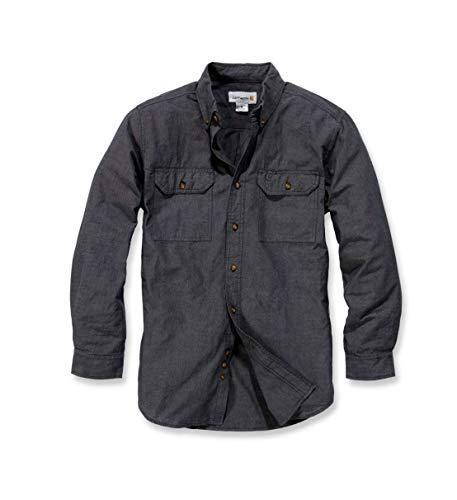 Carhartt S202 L/S Fort Solid Shirt - Arbeitshemd - Freizeithemd (L, Dunkelblau)