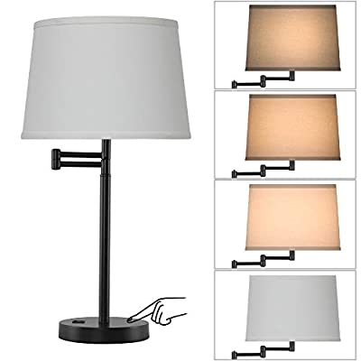 JIOSXC 3 Way Touch Control Swing Arm Table Lamp with USB Port for Living Room,White Linen Shade Bedside Black Table lamp for Bedroom,Office,Home,3 Way Bulb Included