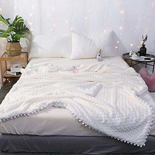 """YCSD Manta De Piel De Piel Sintética Manta De Doble Capa Manta Pom Pom Mantes - Tirar Manta para El Sofá - Linda Acogedora Manta De Peluche(Size:120x150cm/47 x59"""",Color:Blanco)"""