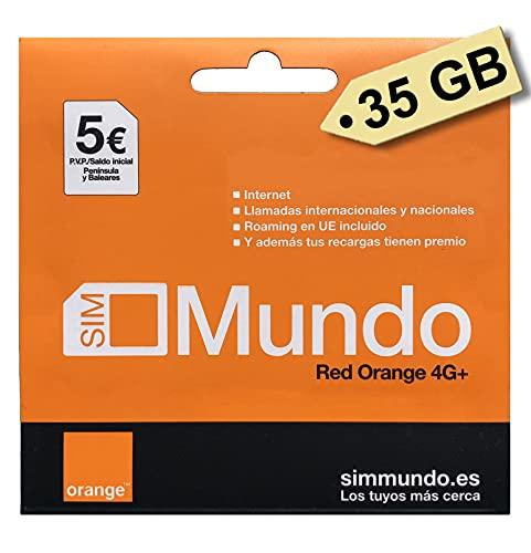 Tarjeta SIM Prepago Orange con 35 GB, 5000 Minutos Nacionales (Tarifa Mundo-20) y 5€ de saldo, activación Online en www.marcopolomobile.com