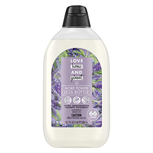 Love Home and Planet Ultra Concentrated Laundry Detergent, Lavender and Argan Oil, 23 oz, 66 Loads