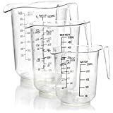 COM-FOUR Juego de taza medidora de 3 piezas con latas medidoras de diferentes tamaños - Taza medidora con escala en mililitros y gramos