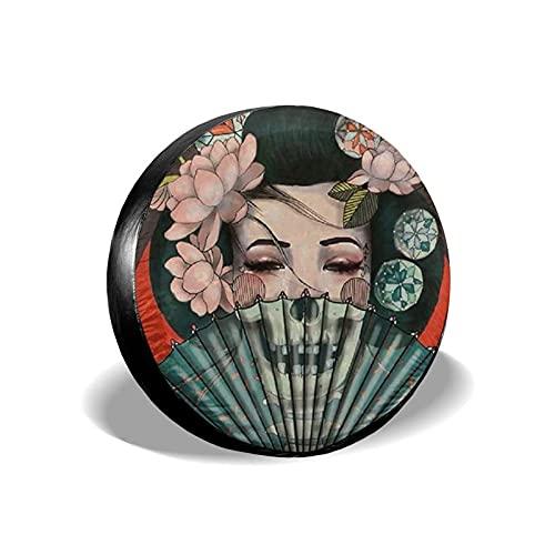 Yaxinduobao Cubierta de neumático Japanese Geisha Protector de Cubierta de neumático de Repuesto para neumáticos de Coche Diámetro de 17 Pulgadas