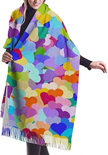 JJsister Damen Pashmina Wrap Schals,Winterschal Schals Colorful Love Cozy Soft Fashion Winter Warm Large Schals Long Shawl
