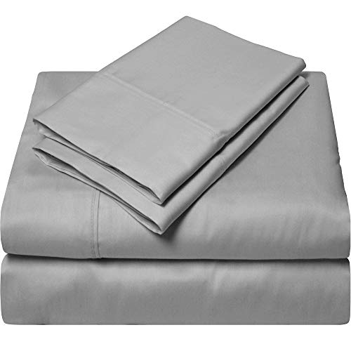 King Size Sheets Luxury Soft 100% Egyptian Cotton - Bed Sheet Set for King Mattress Silver Gray Solid 600 Thread Count Deep Pocket