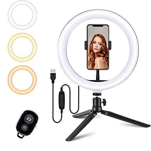 Potok 10-Zoll-LED-Selfie-Ringlicht, Ringlicht-LED mit 3 Lichtmodi, dimmbares LED-Kamera-Schreibtisch-Ringlicht-Kit für Live-Stream/Make-up/YouTube-Video, kompatibel für iPhone Android (Black)